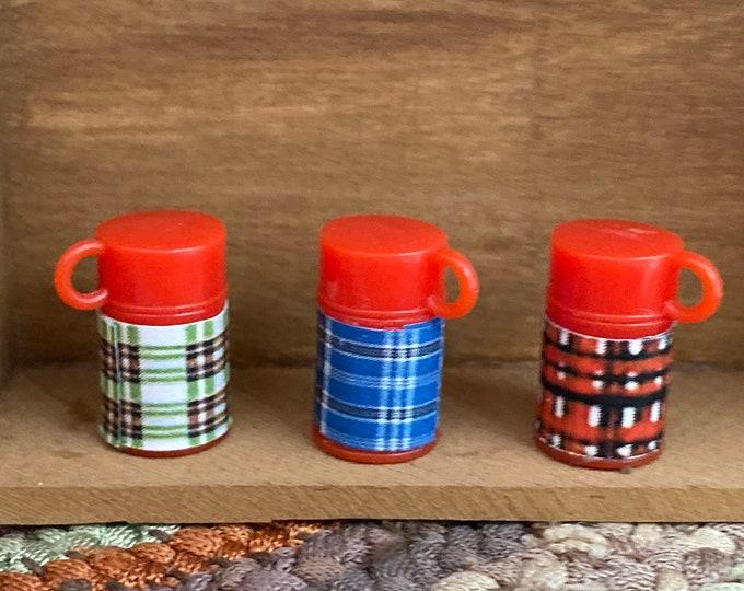 Miniature Thermos Set, Plaid Thermos 3 Piece Set, Dollhouse Miniature, 1:12 Scale, Dollhouse Accessory, Decor