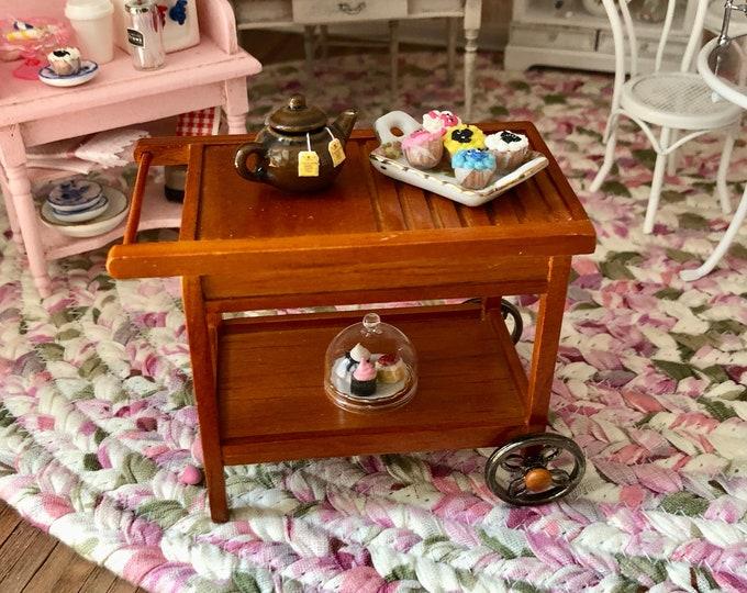 Miniature Tea Cart, Retired Reutter Miniature Wood Tea Cart, Dollhouse Miniature, 1:12 Scale, Pull Out Drawer, Bottom Shelf Mini Cart