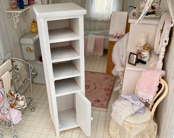 Miniature Cabinet, White Wood Cabinet With Shelves And Door, Tall Cabinet, Dollhouse Miniature Furniture, 1:12 Scale, Mini Wood Cabinet