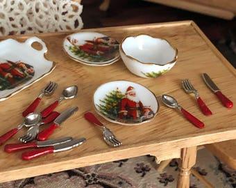Miniature Silverware Set, Red Handle Silverware Set, Mini Flatware, 12 Piece Set, Dollhouse Miniature, 1:12 Scale, Mini Utensils