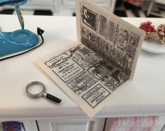 Miniature Magnifying Glass and Newspaper, Dollhouse Miniature, 1:12 Scale, Dollhouse Accessories, Decor, Crafts