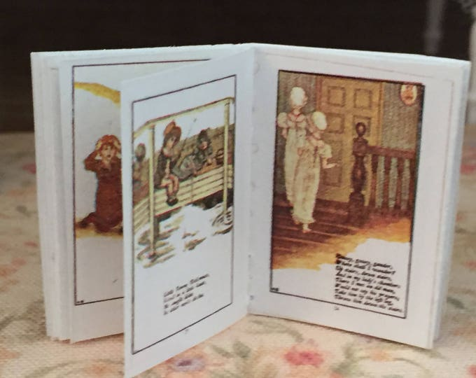 Miniature Nursery Rhymes Readable Book, Antique Reproduction With Color Pages, Dollhouse Miniature, 1:12 Scale, Mini Book, Mother Goose