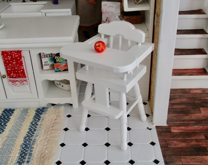 Miniature High Chair, Mini White Wood High Chair With Lift Up Tray, Dollhouse Miniature, 1:12 Scale, Dollhouse Furniture