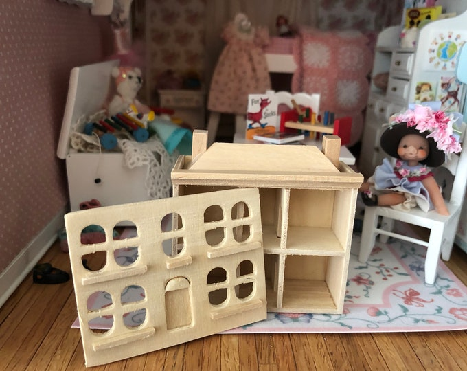 Miniature Unfinished Toy Doll Dollhouse, Mini Wood Dollhouse With Removable Front, Style #61 Dollhouse Miniature, 1:12 Scale