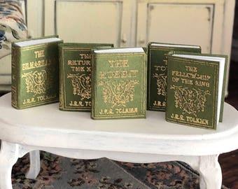 Miniature Books, Tolkien 5 Piece Set, Dollhouse Miniature, 1:12 Scale, Mini Books, Dollhouse Accessories, Decor, Crafts, Embellishments