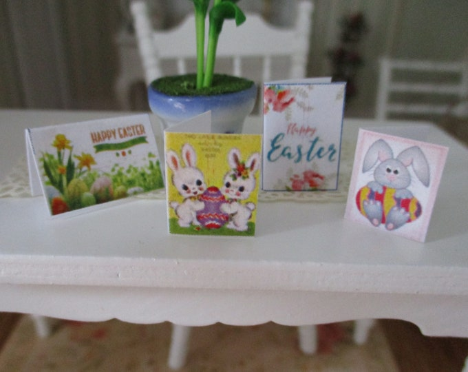 Miniature Cards, Easter Card Set, 4 Pieces, Dollhouse Miniature, 1:12 Scale, Holiday Decor, Miniature Accessories