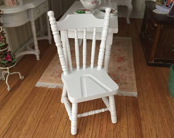 Miniature Chair, White Wood Side Chair, Dollhouse Miniature Furniture, 1:12 Scale, Mini White Chair, Decor, Crafts, Topper