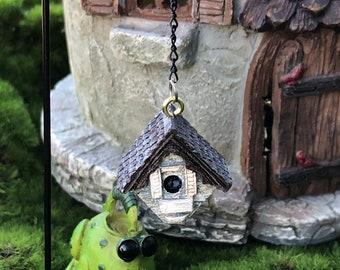 Mini Birdhouse With Shepherds Hook, Hanging Birdhouse and Hook, Fairy Garden Accessory, Miniature Garden Decor, Metal Pick, Resin Birdhouse