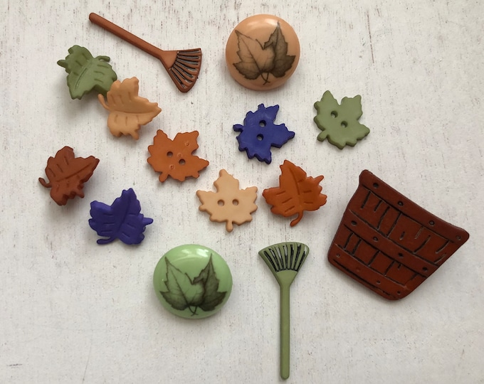 "Fall Buttons, Packaged Novelty Buttons, ""Raking Leaves"" by Buttons Galore Style 4621, Packaged Assortment, Fall Themed Buttons"