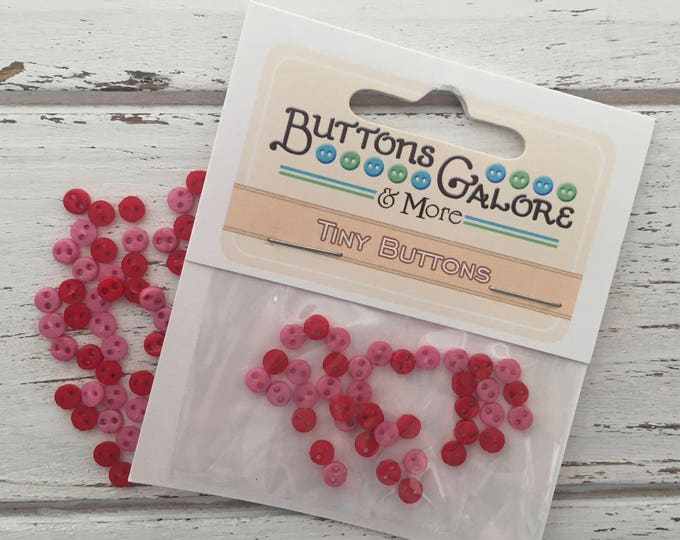 "Micro Buttons, Tiny 4mm Buttons, Packaged Assortment, ""Sweetheart"" Style 1800 by Buttons Galore, 2 Hole Buttons, Shades of Pink"