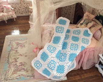 HAND CROCHET MINIATURE DOLLHOUSE  BLANKET Dusty Teal