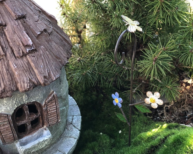 "Mini Shepherd's Hook, ""Bloomin Flowers"", Mini Metal Hook with Butterfly and Flowers, Fairy Garden Accessory, Miniature Garden Decoration"