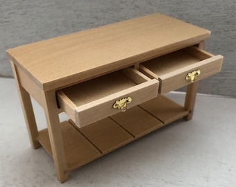 Miniature Side Table With 2 Drawers and Bottom Shelf, Dollhouse Miniature Furniture, 1:12 Scale, Mini Table, Clearance