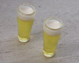 Miniature Filled Beer Glasses, Set of 2 Filled Pilsner Style Glasses, Dollhouse Miniature, 1:12 Scale, Dollhouse Glasses, Mini Beer