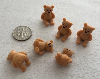 Miniature Teddy Bears, Set of 6, Mini Plastic Bears, Crafts, Embellishment, Toppers
