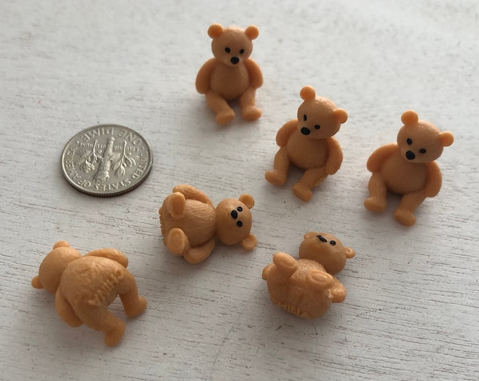 Miniature Teddy Bears, Set of 6, Mini Plastic Bears, Crafts, Embellishment, Toppers