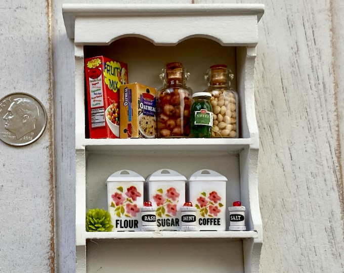 Miniature Filled Wall Shelf, Mini White Wood Kitchen Shelf with Food Boxes, Jars, Canisters, Dollhouse Miniature, 1:12 Scale