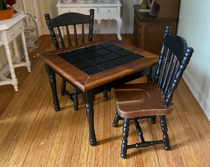 Miniature Table Black and Walnut Finish Table and Chairs Set, 3 Pieces, CLEARANCE, Dollhouse Miniature Furniture, 1:12 Scale