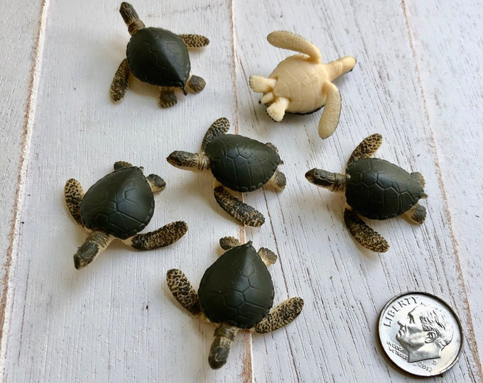 Miniature Turtles, Mini Sea Turtle Figurines, Set of 6, Tiny Plastic Turtles,  Great for Crafts, Toppers, Embellishments