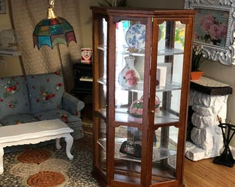 Miniature Mirrored Curio Cabinet, Wood Cabinet, 4 Shelves, Dollhouse Miniature, 1:12 Scale, Dollhouse Furniture,
