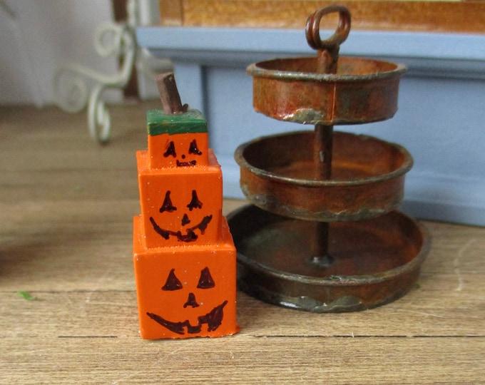 Miniature Stacked Jack O Lantern Pumpkin Boxes, Dollhouse Miniature, 1:12 Scale, Halloween Fall Decor, Dollhouse Accessory