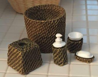 Miniature Wicker Look Bath Set, Lotion, Waste Basket, Soap, Tissue Holder, Cup, Dollhouse Miniatures, 1:12 Scale, Bathroom Decor