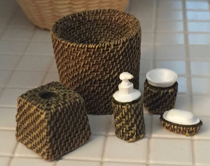 Miniature Wicker Look Bath Set, Lotion, Waste Basket, Soap, Tissue Holder, Cup, Dollhouse Miniatures, 1:12 Scale, Bathroom Decor