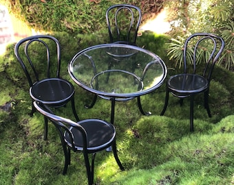Miniature Patio Table and Chairs, Black Table, Clear Top, 4 Chairs, Metal Table and Chairs, Dollhouse Miniature Furniture 1:12 Scale