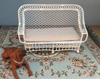 Miniature Couch, Bar Harbor Style Wicker Look Couch With Cushion,  White Metal Couch, Dollhouse Miniature Furniture, 1:12 Scale, Mini Couch