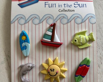 "Summer Buttons ""Surf's Up"" Fun In The Sun Collection by Buttons Galore, #FN109 Carded set of 6, Shank Back Buttons, Boat, Sun, Surf, Fish"