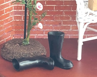 Miniature Black Boots, Mini Rubber Boots, Rain Boots, Galoshes, Dollhouse Miniature, 1:12 Scale, Dollhouse Accessory, Decor, Crafts
