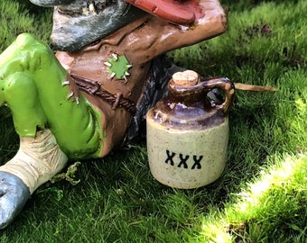 Miniature Jug, Ceramic Crock With Cork, MoonShine Juice Water Jug, Fairy Garden Accessory, Miniature Home & Garden Decor, Brown Handle Jug