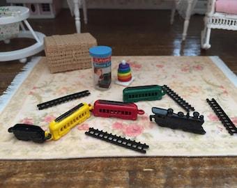 Miniature Train Set, Metal Mini Train With Tracks, Dollhouse Miniature, 9 Piece Set, Dollhouse Accessory, Decor, Topper, Crafts