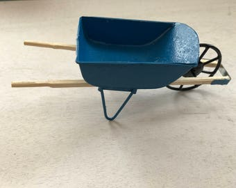 Miniature Metal Wheelbarrow With Wood Handles, Blue Wheelbarrow, Dollhouse Miniature, 1:12 Sca;le, Dollhouse Accessory, Mini Garden Decor