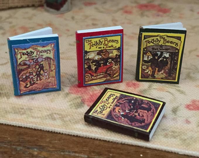 Miniature Teddy Bear Books, Antique reproduction mini books, Dollhouse Miniatures, 1:12 Scale, Mini Books, Set of 4 Bear Books
