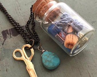 Glass Cork Top Jar Necklace, Knitting and Yarn in Jar, Style #JF7-2, Mini Scissors Chain with Yarn Filled Jar, Knitting, Knitters Gift