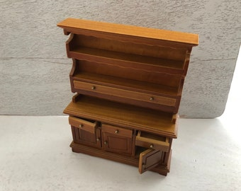 Miniature Hutch, Walnut Wood Hutch With Shelves, 4 Drawers and Bottom Storage, Dollhouse Miniature 1:12 Scale, Clearance