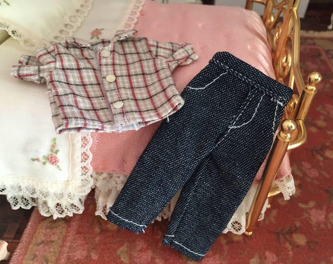 Miniature Jeans and Shirt, Mini Plaid Shirt and Denim Pants, Dollhouse Miniature, 1:12 Scale, Mini Clothes, Dollhouse Accessories, Decor