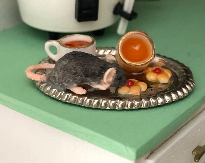 Miniature Mouse Figurine, Mouse With Tea and Cookies #26, Dollhouse Miniatures, 1:12 Scale, Dollhouse Decor, Topper, Crafts, Shelf Sitter