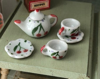 Miniature Tea Set, Cherry Painted Ceramic 6 Piece Mini Tea Set, Dollhouse Miniature, 1:12 Scale, Dollhouse Accessory, Decor, Mini Cups