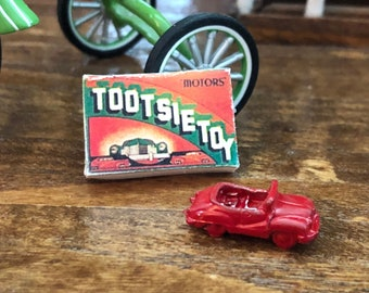 Miniature Toy Car and Box Set, Vintage Look Tootsie Toy Box and Metal Car, Dollhouse Miniature, 1:12 Scale, Dollhouse Accessory, Decor