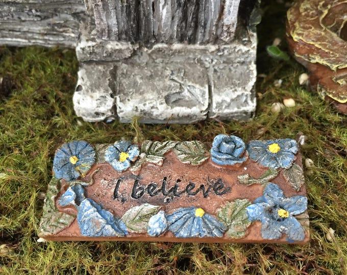 "Mini Door Mat, ""I Believe"" Fairy Door Mat With Blue Flowers, Fairy Garden Accessory, Miniature Garden Decoration, Resin Mat"