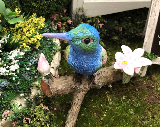 Mini Hummingbird Figurine, Style 54, Fairy Garden Miniature Garden Accessory, Shelf Sitter, Topper, Mini Bird Figurine