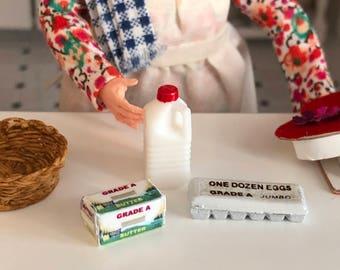 Miniature Milk Eggs and Butter Set, Miniature Food, Dollhouse Miniatures, 1:12 Scale, Dollhouse Food, Pretend Food, Dollhouse Accessories