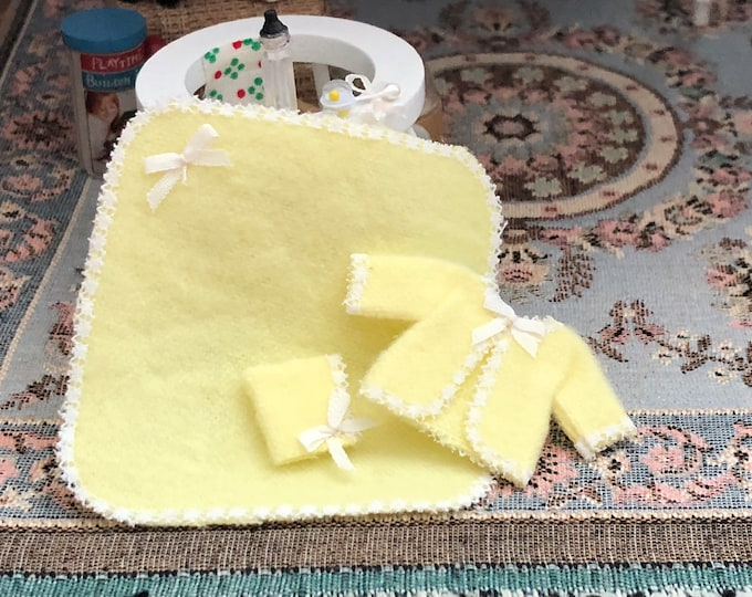 Miniature Baby Set, Blanket, Bonnet, Jacket and Bottle, Yellow Baby Set, Dollhouse Miniature, 1:12 Scale, Dollhouse Accessory, Decor