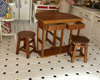 Miniature Breakfast Table and Stool Set, Fold Out Wood Table With Drawers, Bottom Shelf & Stools, Dollhouse Miniature Furniture, 1:12 Scale