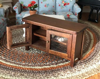 Miniature TV Stand, Mini Wood Television Stand, Side Table, Dollhouse Miniature Furniture, 1:12 Scale, Clear Doors Stand With Shelves