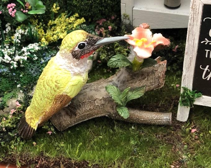 Mini Hummingbird Figurine, Style 53, Fairy Garden Miniature Garden Accessory, Shelf Sitter, Topper, Mini Bird Figurine