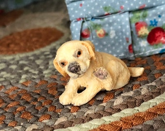 Miniature Puppy Figurine, Miniature Sitting Golden Pup With Paw Up, Dollhouse Miniature, 1:12 Scale, Dollhouse Pet, Shelf Sitter, Topper