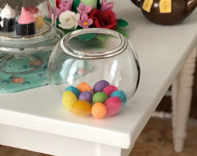 Miniature Glass Fish Bowl, Style #45, Dollhouse Miniature, 1:12 Scale, Dollhouse Accessory, Decor, Crafts, Mini Glass Bowl